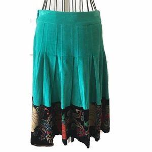 Anthropologie Fei Velvet Beaded Floral Skirt
